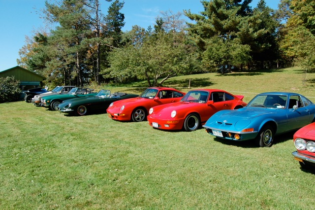 A few of the classic sports cars in the rally, parked at the Clarke Farm where a delicious catered lunch was enjoyed by all.
