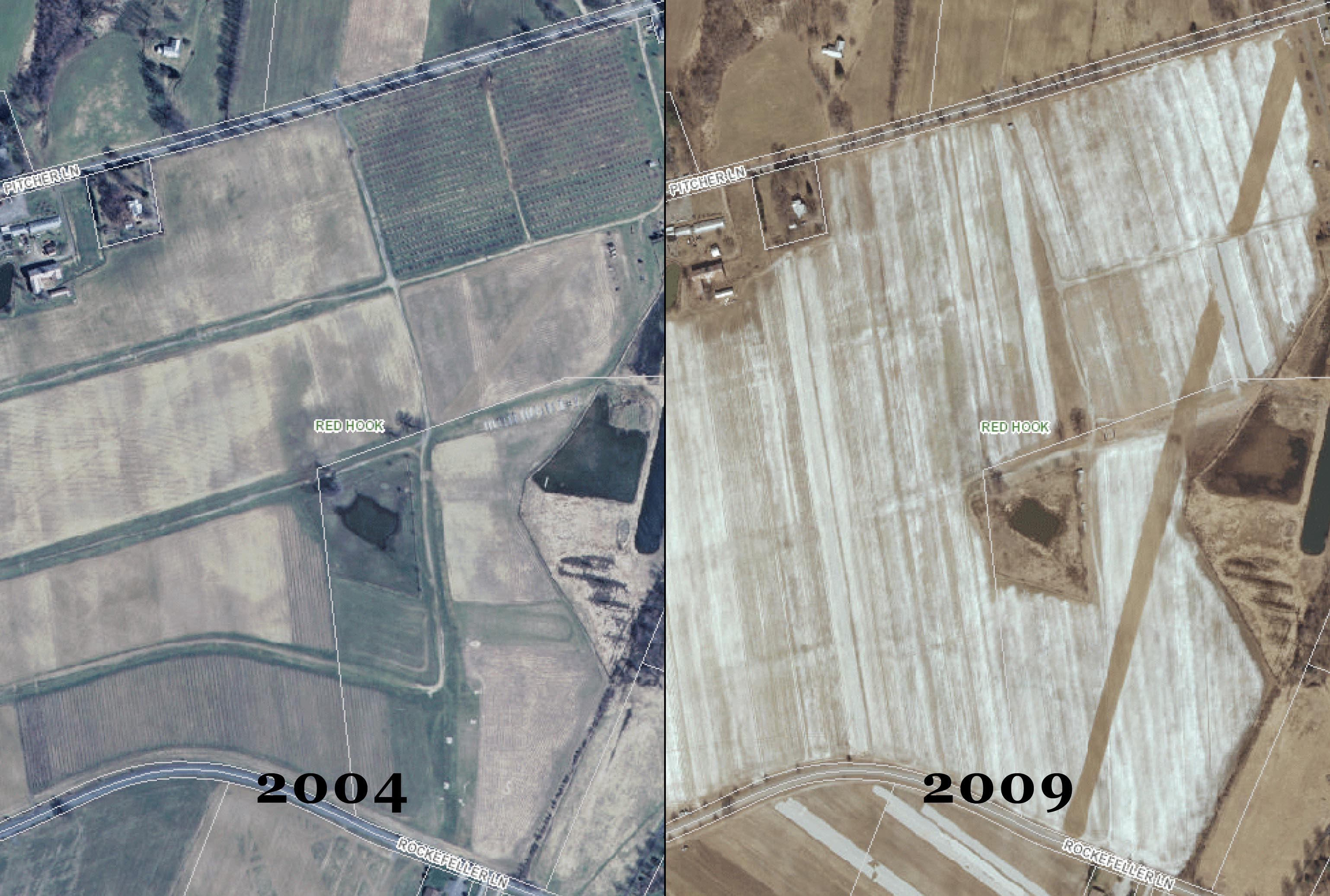 County aerial photos show crops growing in 2004 where airstrip exists in 2009 and today. However, Mr. Greig has stated the airstrip has not always been in the same place on the farm.