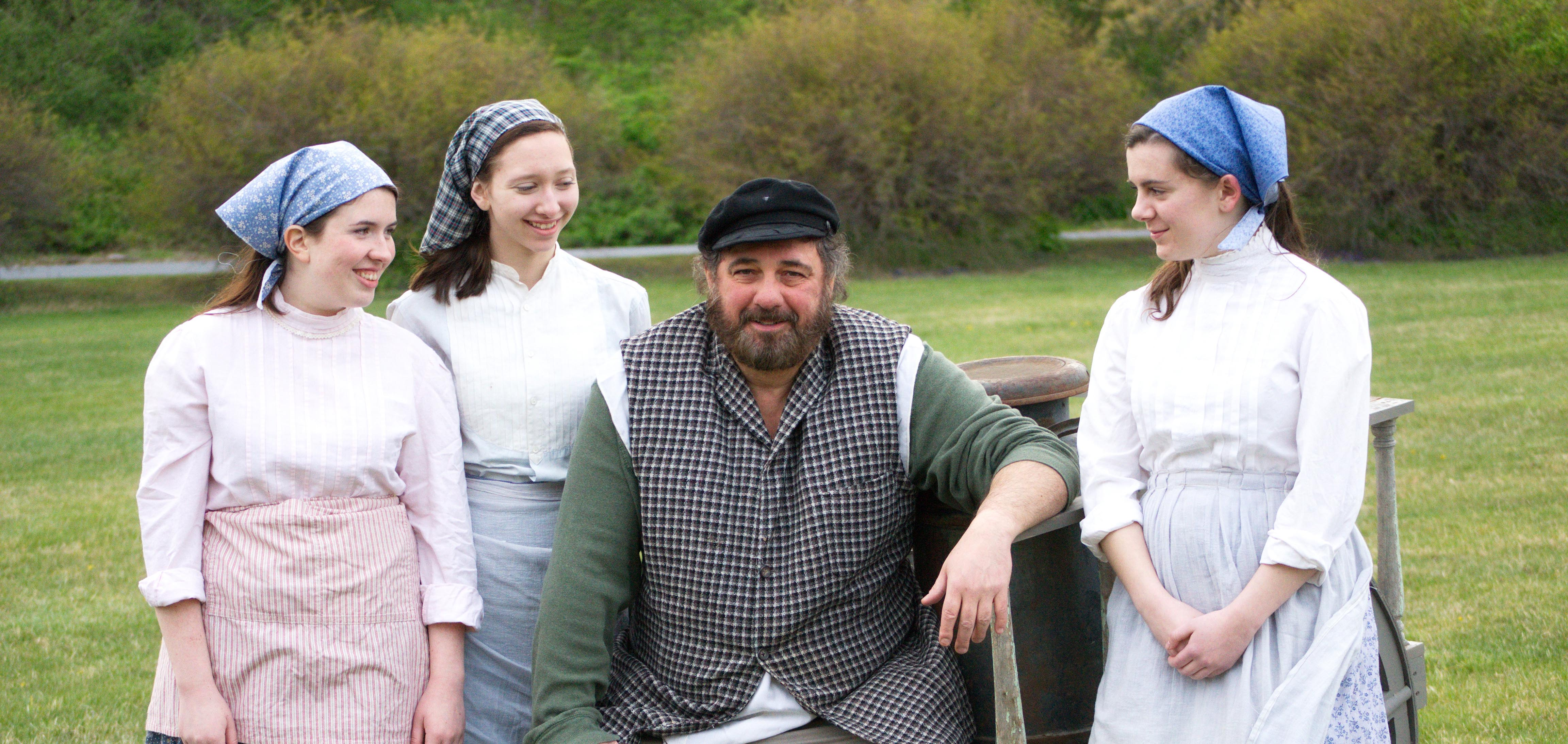 (L to R): Tzeitel (Morgan McKinley), Hodel (Marta Fuerst), Tevye (Johnny Dell), Chava (Mary McCartney) from Fiddler on the Roof.