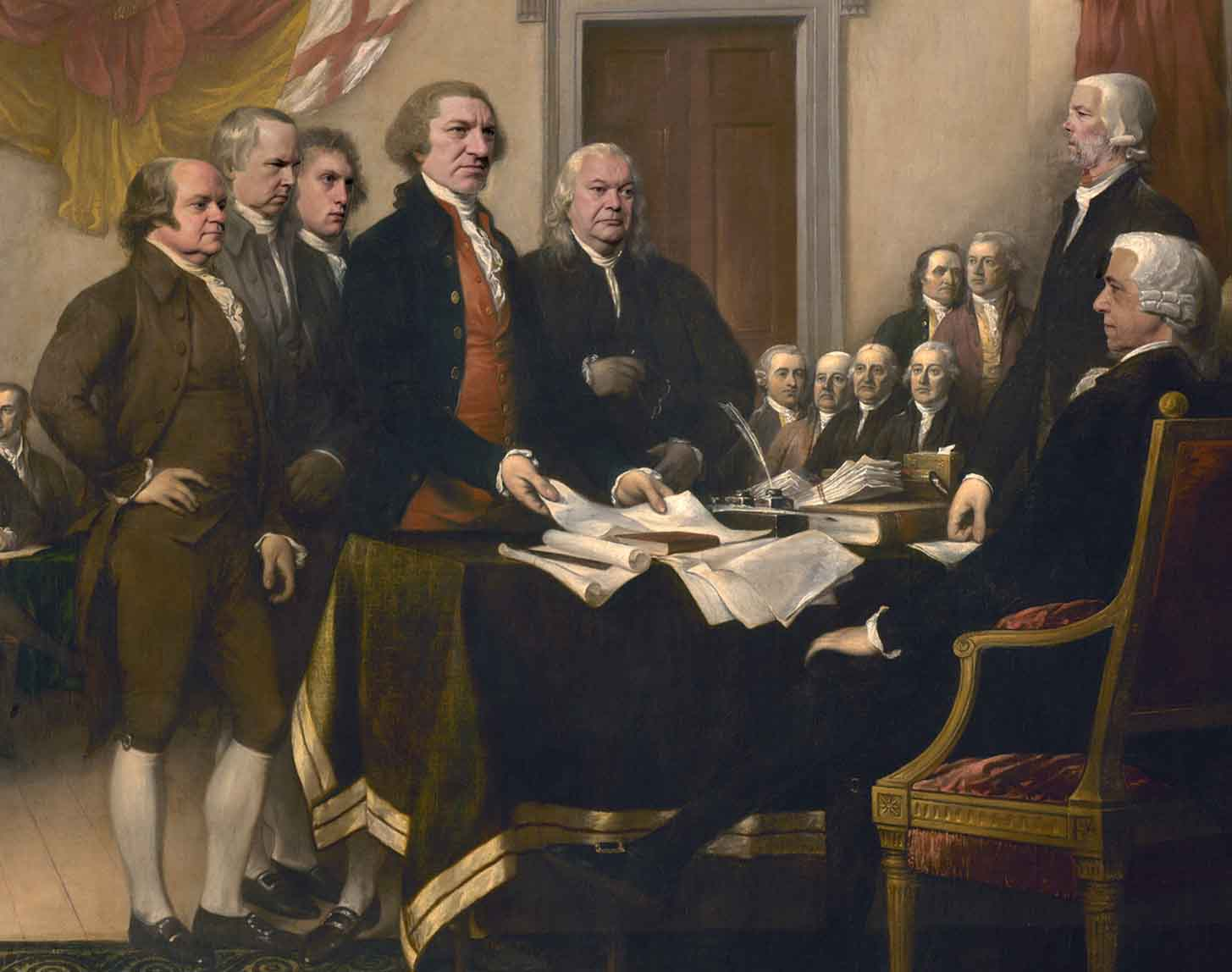 This adaptation of John Turnbull's 'The Signing of the Declaration of Independence' features 1776 cast members (foreground from left to right): Jim Hammill (John Adams), Tim Coleman (Roger Sherman), Greg Totino (John Livingston), Todd Young (Thomas Jefferson), Michael Juzwak (Benjamin Franklin), Andy Weintraub (Charles Thomson), Peter S. Pius (John Hancock).  Photo/adaption credit: Ken Dreyfack