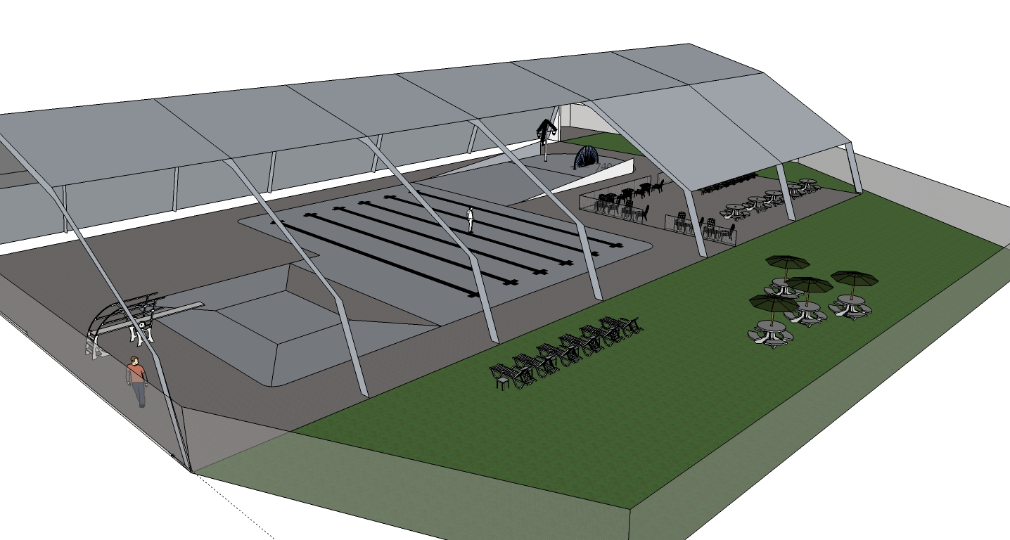 This artist's rendering shows one possible configuration of the roof superstructure over the existing pool.