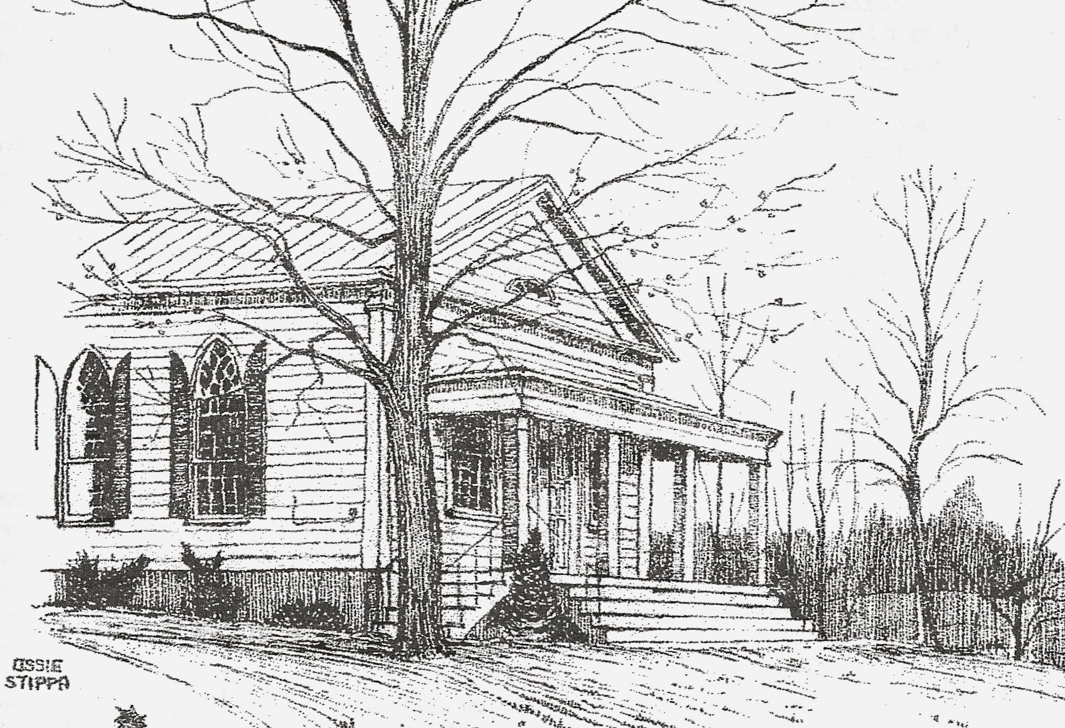 Milan's masterpiece: the 1830s Greek revival Rowe United Methodist Church, across Rt. 199 from Wilcox Memorial Town Hall.