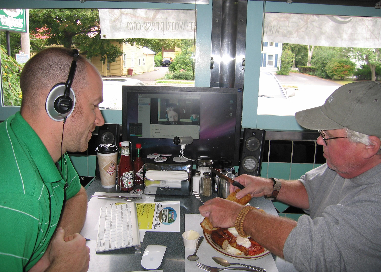 Matthew Slaats watches Don Gavin enjoy an Ulster Fry.