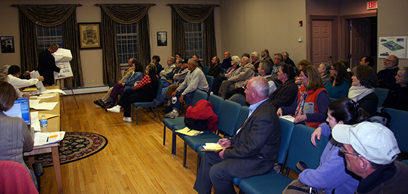 More than 40 residents listened intently as plans for a second gas station to be constructed on Route 199 in Milan were presented on Nov. 29 at Milan Town Hall.