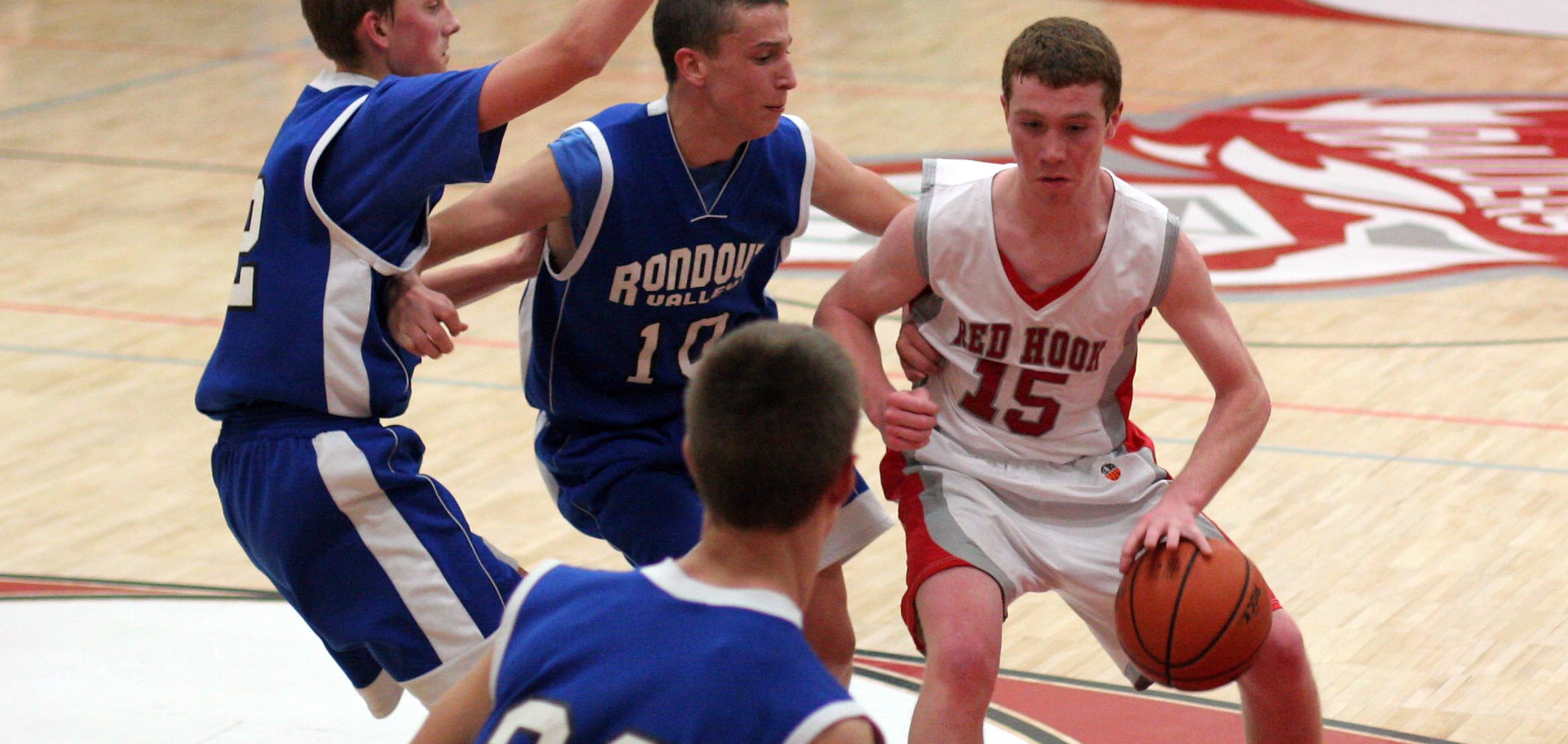 A look back at 2012: Paddy Parr (#15) scored 11 in the second quarter to help Red Hook extend their lead to 36-9 over Rondout.