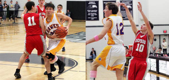 Right: Red Hook's Mike Rogers (#10) launches a three-pointer ahead of defender Nick Hoynes (#12); Left: Rhinebeck's Sean Phelan (#20) drives to the basket past Nolan Dalton (#11)