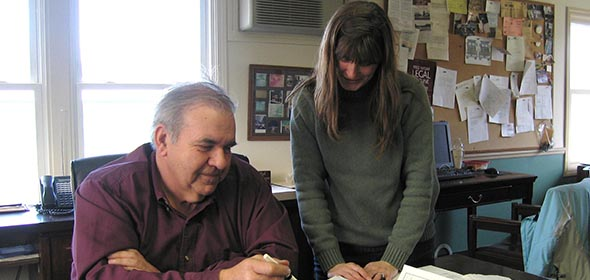 Tom LeGrand (left) and his assistant Kim Seymour at the office located between Red Hook and Rhinebeck on Route 9.