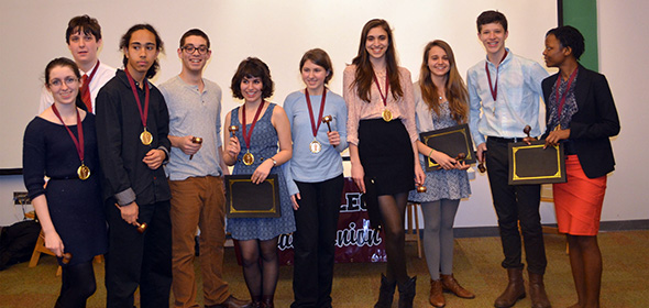 The top ten winners of the 2013 Bard high school debate.