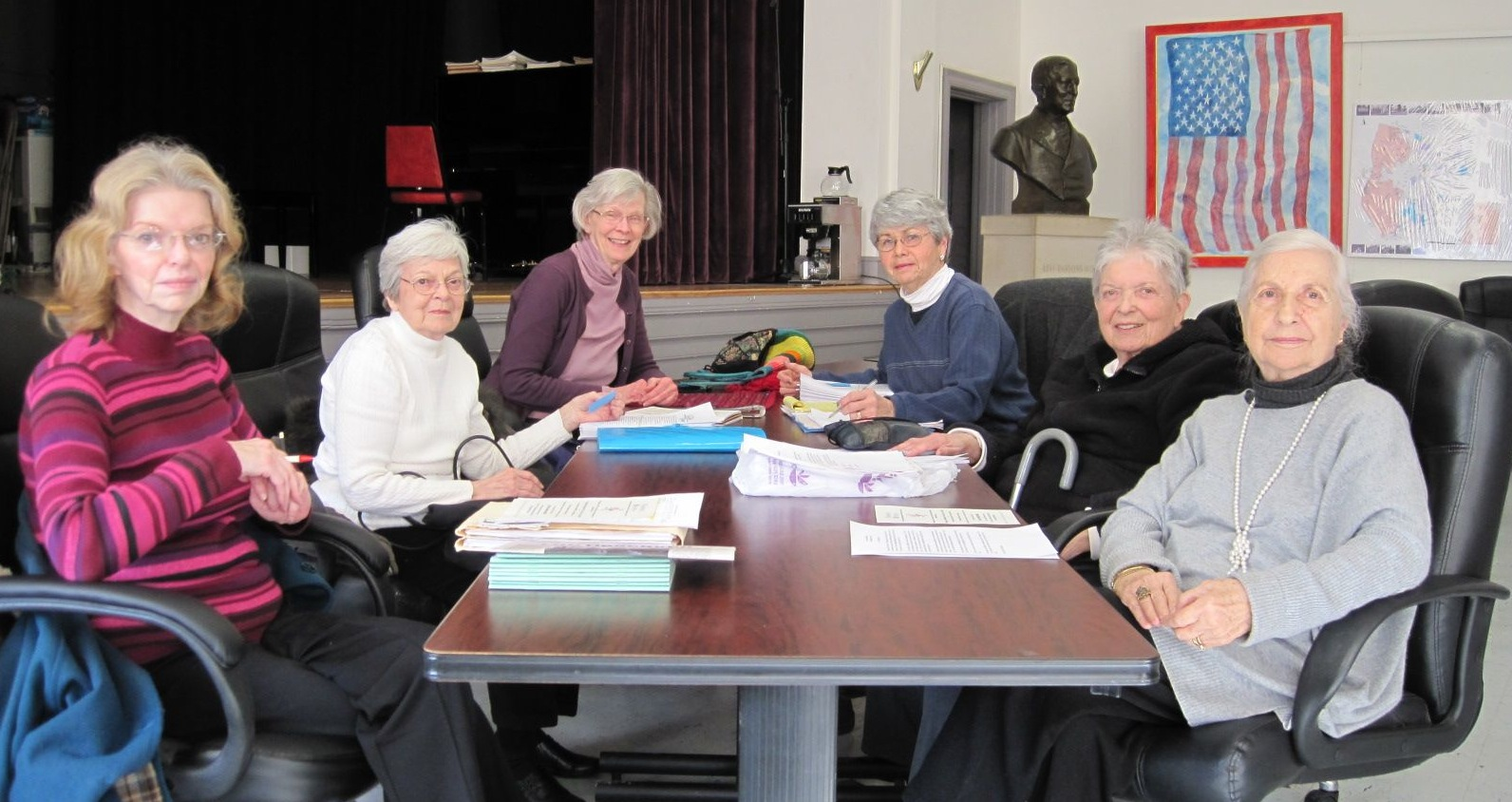 Members of the Rhinebeck Committee on Aging, from left to right: Marsha DeBlasi, Yolanda Kaake,  Nina Lynch, Doris McKibbin, Carole Lieb, Judy Blum. Not in photo: Beverly Sloane.