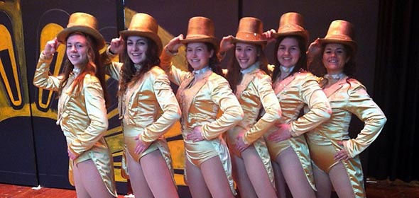 Left to right: Mickey Lynch, Danielle Comerford, Natalie LaBossier, Megan Robitaille, Cara Search and Moorea Martin pose backstage.