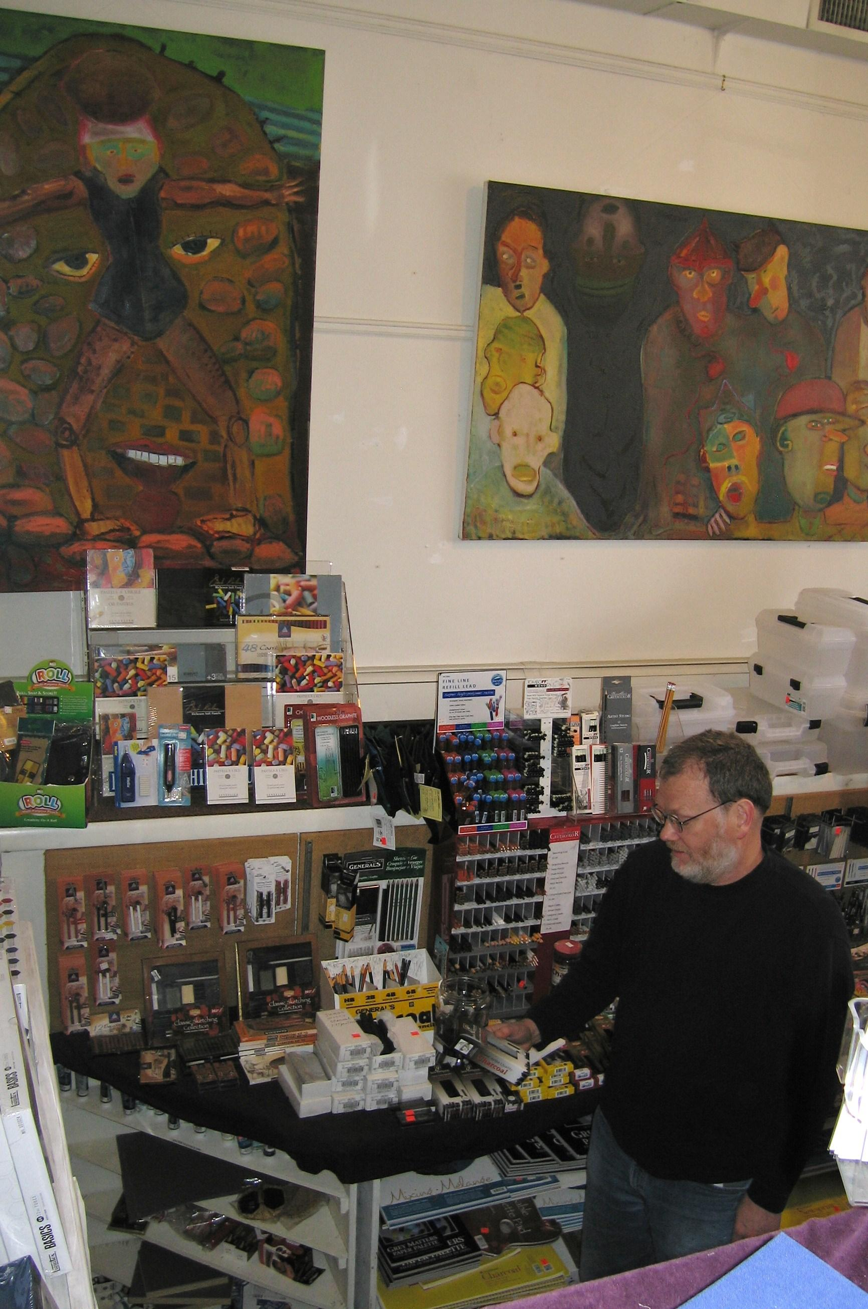 Douglas Shippee, owner of the Rhinebeck Artist's Shop, also curates an art gallery on the second floor of the Rhinebeck location.