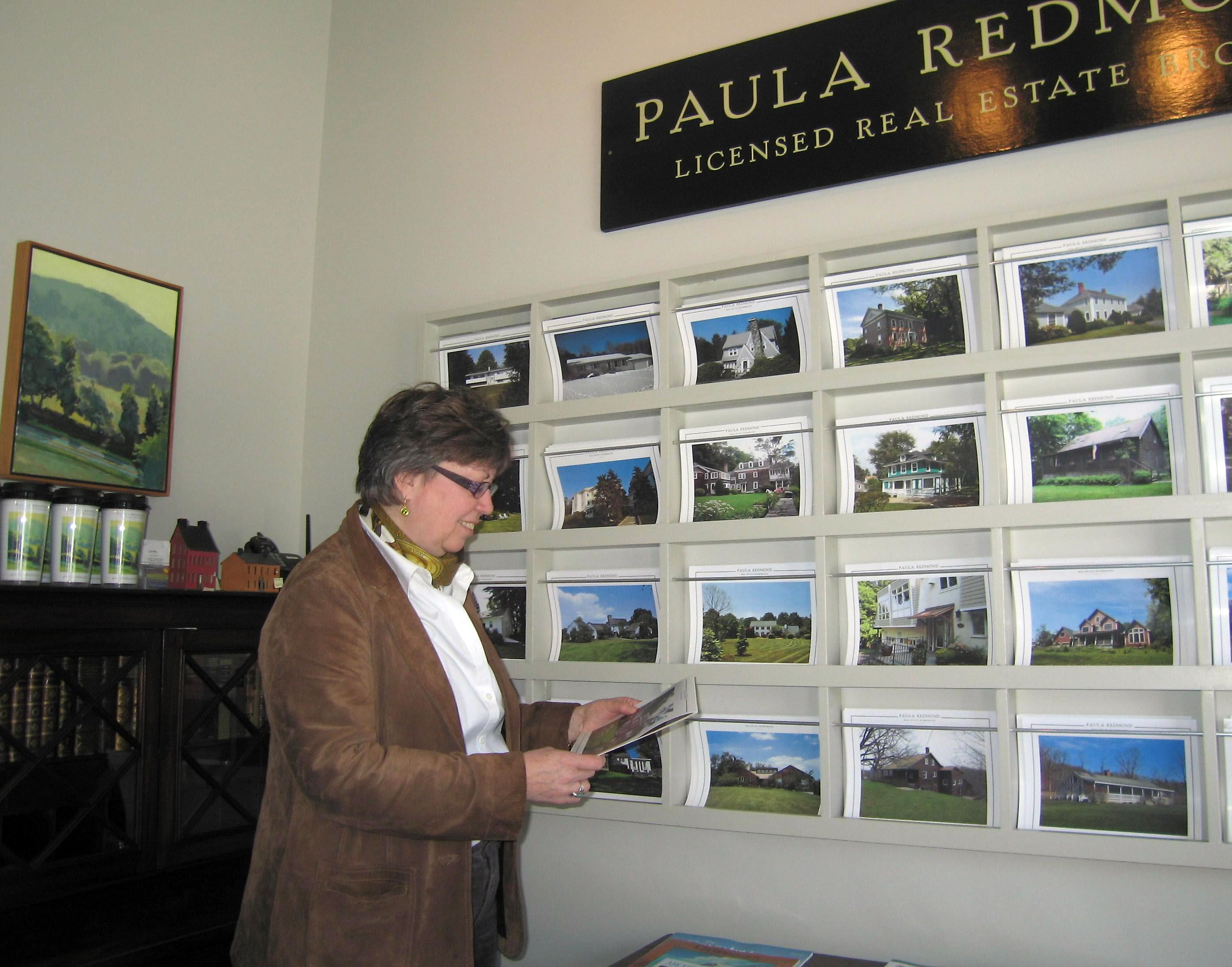 Paula Redmond's offices have an art gallery feel that fits right in among Rhinebeck's shops.