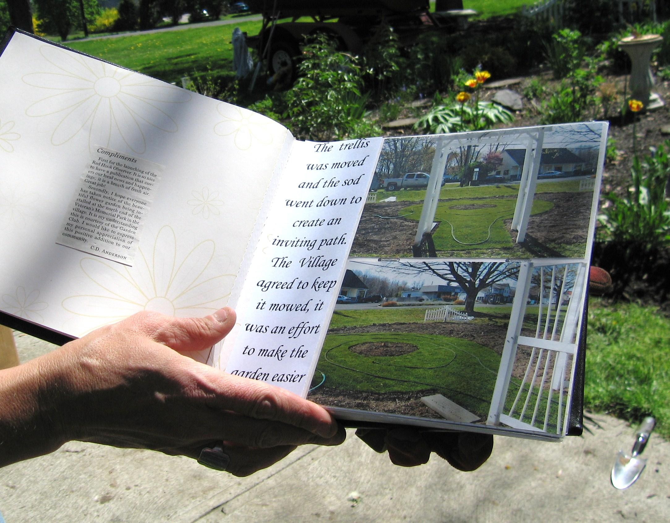 The club created a garden book documenting the changes and progress in the garden.