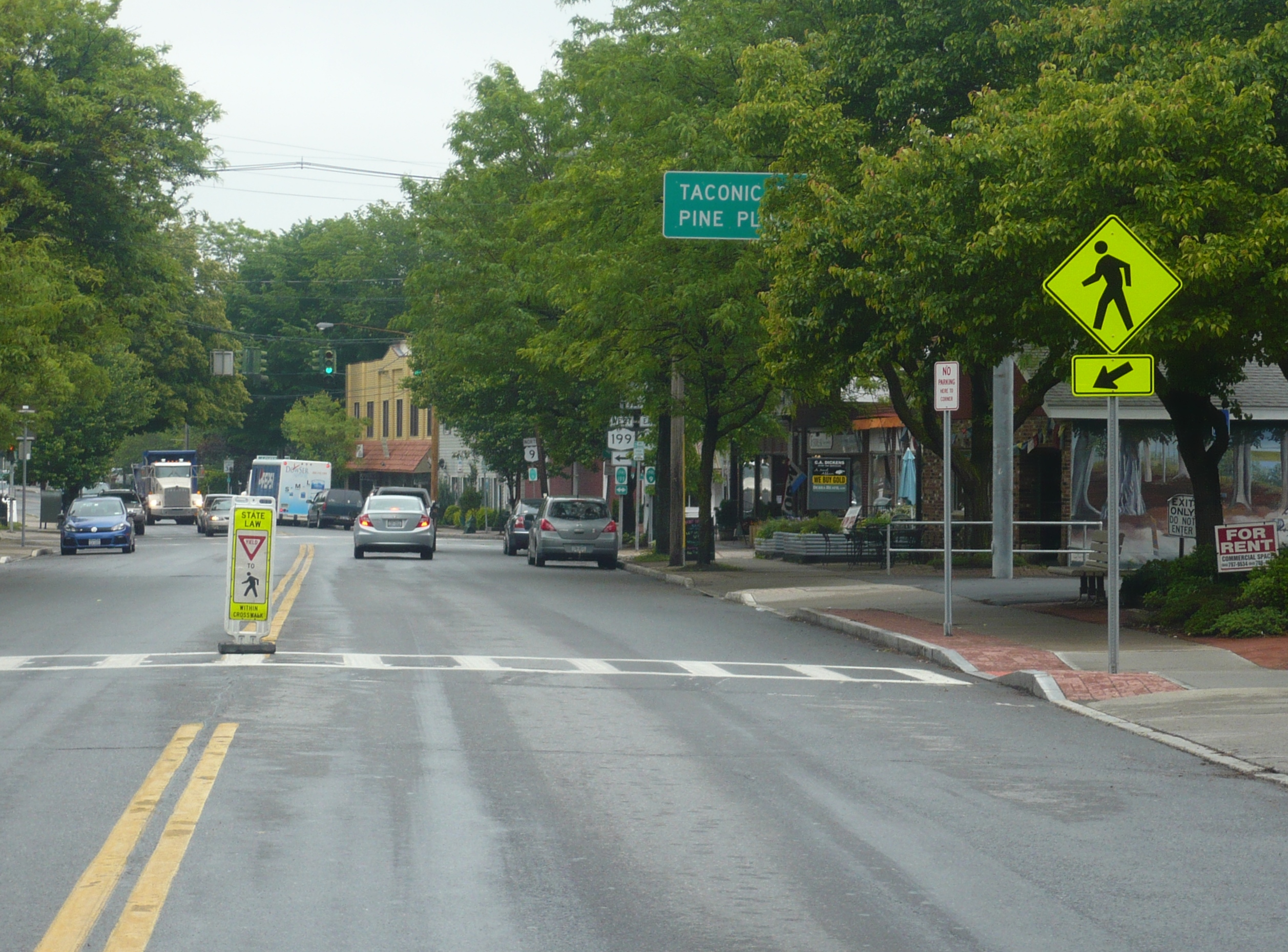 One of the new crosswalks is on Route 9 across from Red Hook Village Hall.