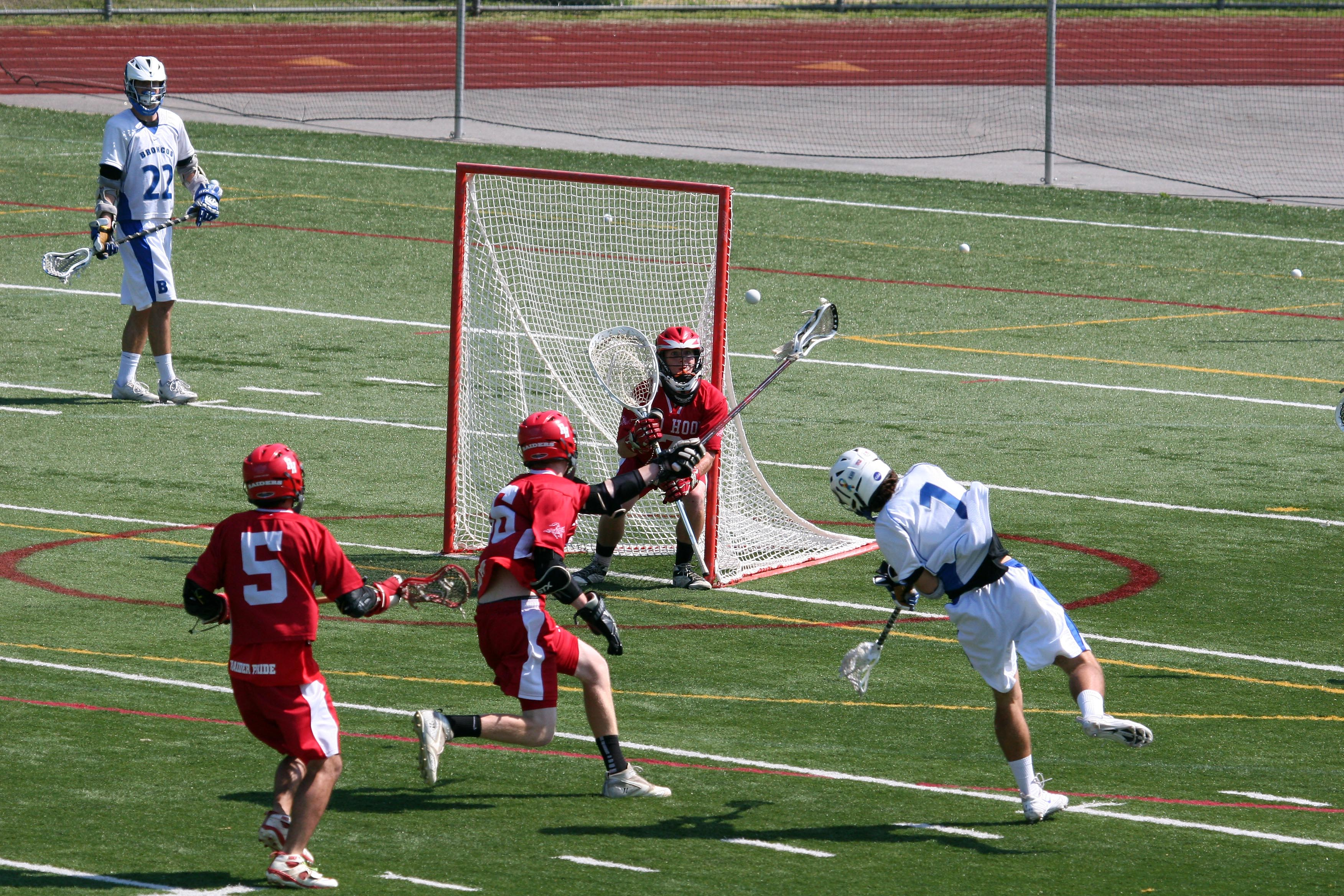Red Hook goalie Austin Loeffel in position to make one of his 14 saves in the loss to Bronxville on June 1.