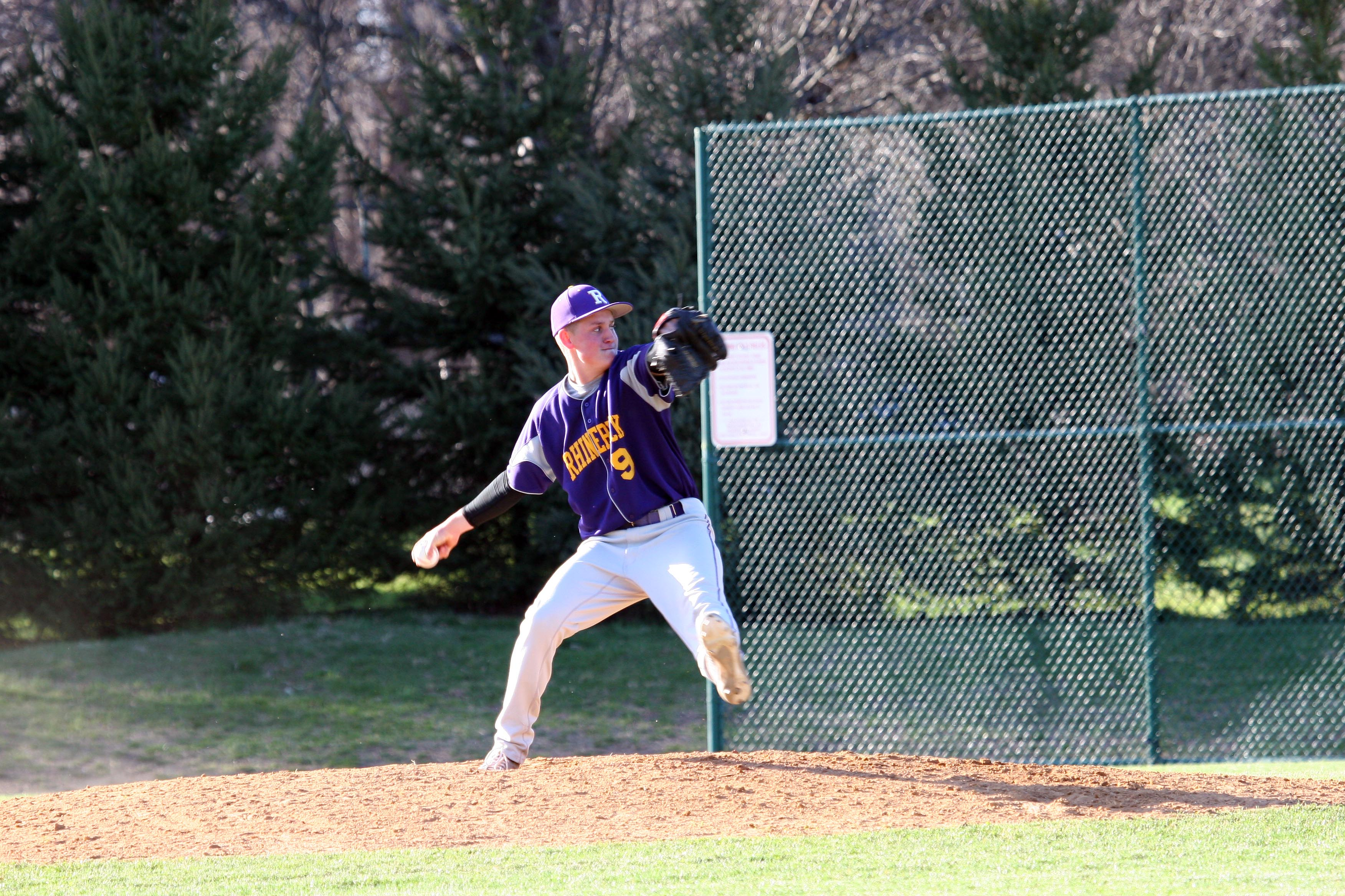 Rhinebeck's Kory Hutchins delivered from the mound and the plate in the Hawks' 2-1 win over rival Pine Plains in the 2013 playoffs.