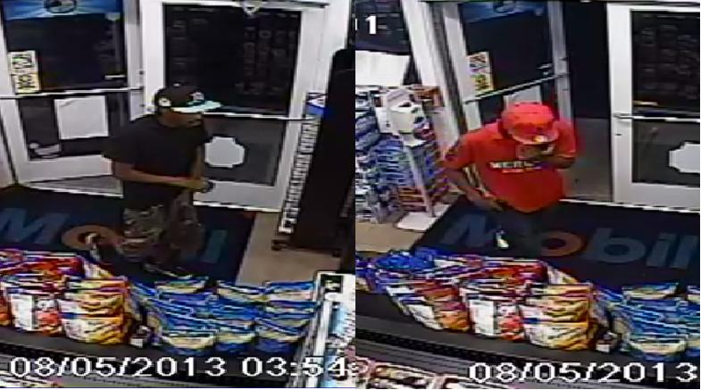 Stills from the surveillance video of the robbery.