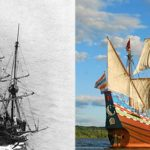 Left, a photograph of the second Half Moon from 1909. Right, a photo of the current Half Moon. / JOHN MANGRUM, NEW NETHERLAND MUSEUM