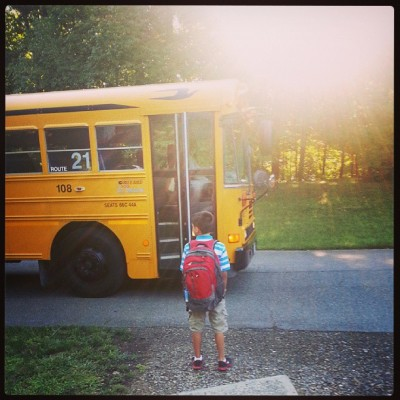 Colin McDonald, 3rd grade at Mill Road Elementary in Red Hook, waits for the bus.