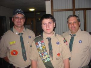 L to R: Troop 80 Scout Master, Craig Burke, Ryan Hardt, and Assistant Scout Master, Jason Mark. Photo courtesy: Bob Kampf