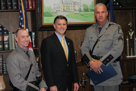 L to R: Trooper Michael A. Bianco, Troop K-Dover Plains, Senator Terry Gipson, Sergeant Darren W. Forbes, Troop K-Rhinebeck