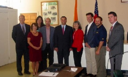 On hand at Hyde Park Town Hall were (L to R): County Legislator Rich Perkins, Hyde Park Supervisor Aileen Rohr, County Legislator Sue Serino, Town of Poughkeepsie Supervisor Todd Tancredi, County Executive Mark Molinaro, Dutchess County Planning Board Chair Kealy Salomon, Village of Wappingers Falls Mayor Matt Alexander, Town of Pawling Supervisor Dave Kelly, and Town of Beekman Supervisor Matt Kennedy.
