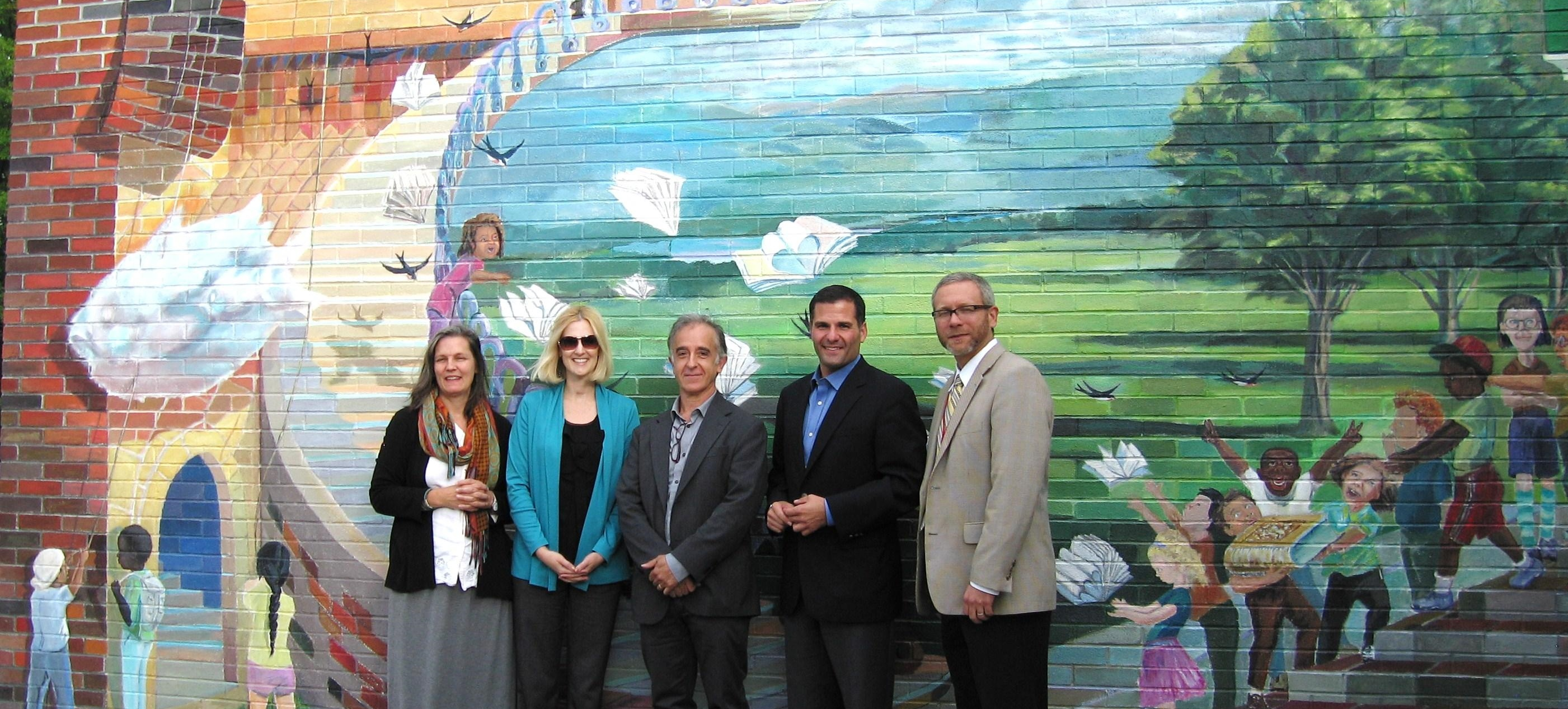 (L to R): Marguerite San Millan, Mill Road Elementary School Principal Erin Hayes, Andres San Millan, County Executive Marc Molinaro, Red Hook Superintendent Paul Finch.  Arlene Wege/The Observer
