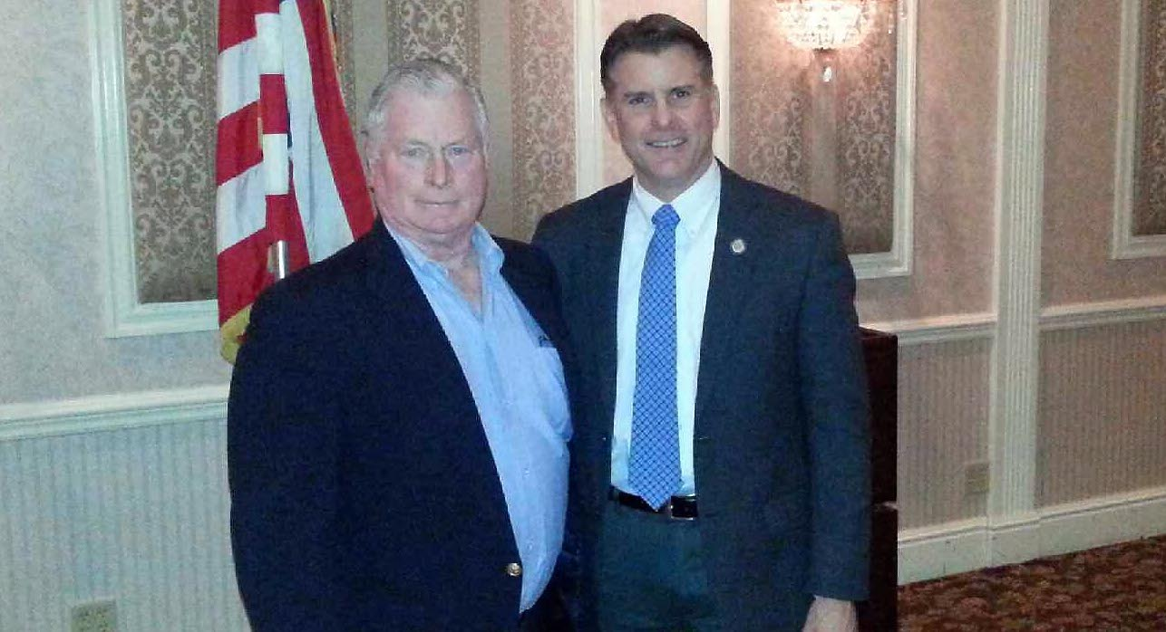 Firefighter William Vickery (L) with State Senator Terry Gibson at the Rhinebeck department's annual installation dinner Jan. 4. Photo courtesy Henry Campbell