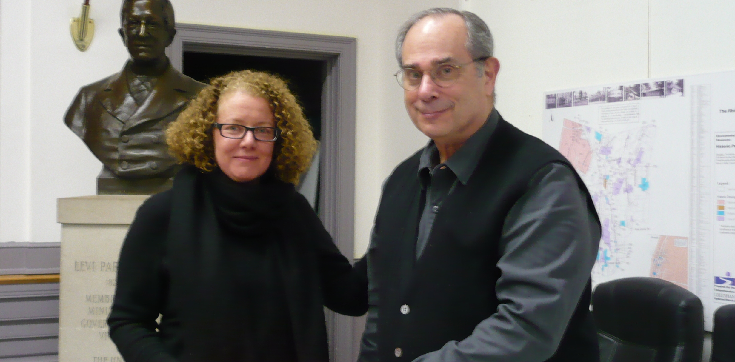 Supervisor Elizabeth Spinzia with new board member Allan Scherr at Jan. 27 board meeting. Sarah Imboden/The Observer