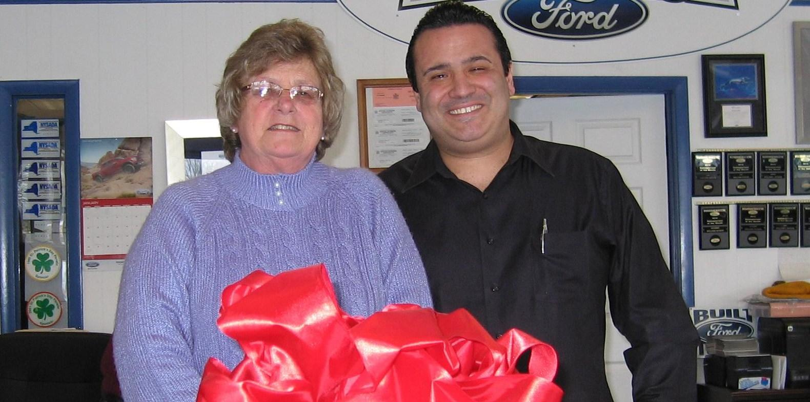 Shirley Rabbett with Lann Rubin II, general manager of Rhinebeck Ford. Arlene Wege/The Observer