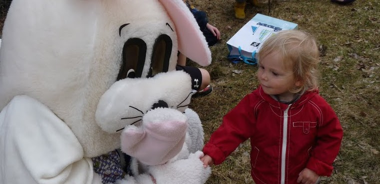Two-year old Milo Hayes meets the Easter Bunny at the annual Tivoli Easter Egg Hunt. Robert Lachman / The Observer