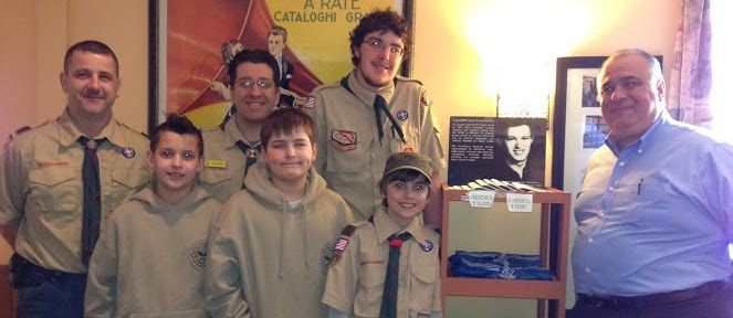 Troop 80 members delivers canned goods for Claudio Cares: (Front, l. to r.): Kyle Mulkins, Logan Cooper, Christian Faber and John Coppola; Back (l. to r.): Scott Mulkins and assistant Scoutmasters Peter Ciprano and Robert Graham. Courtesy Photo