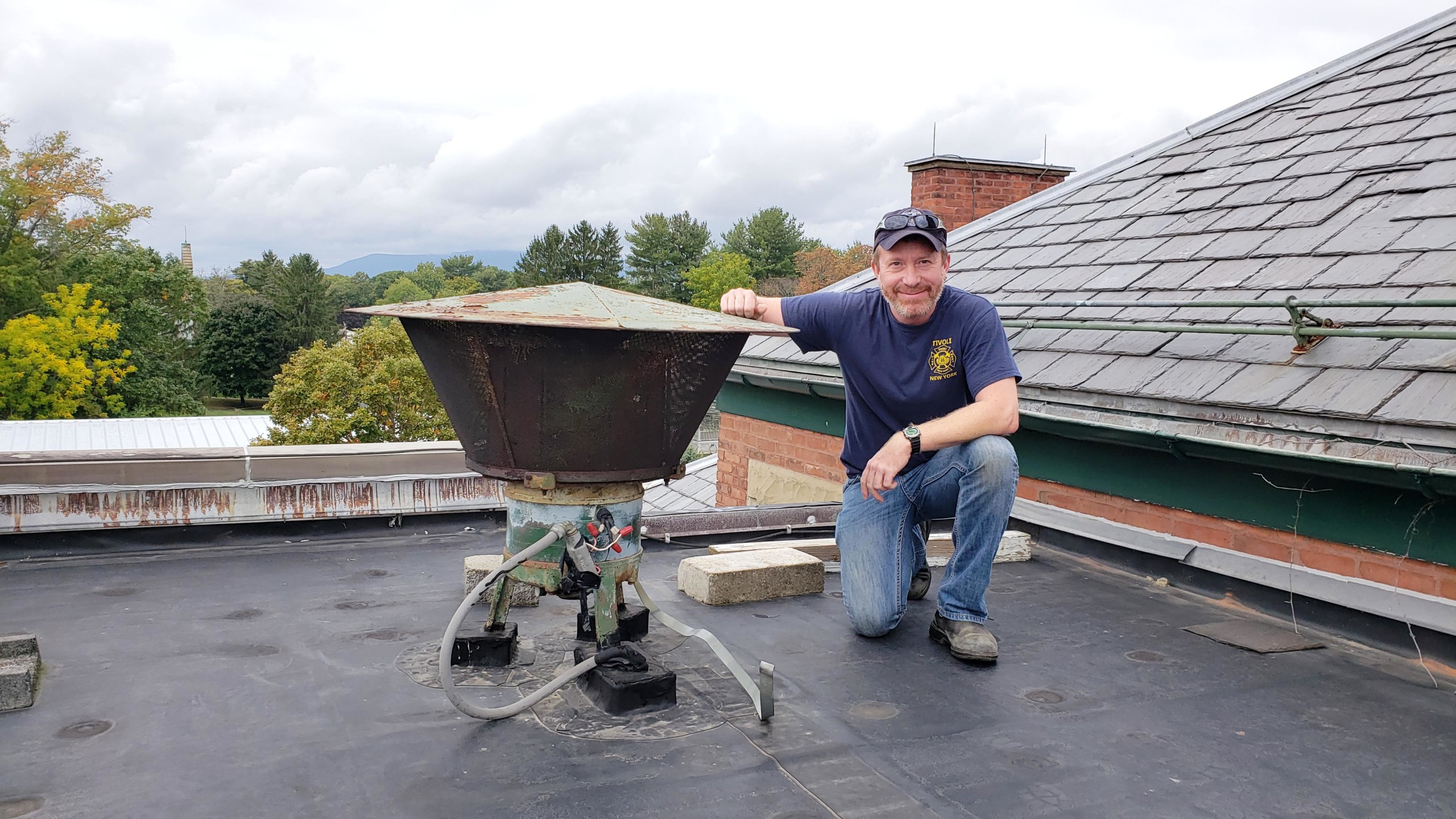 Joel Griffith, Mayor of Tivoli, with the Tivoli siren / Hudson Valley Observer