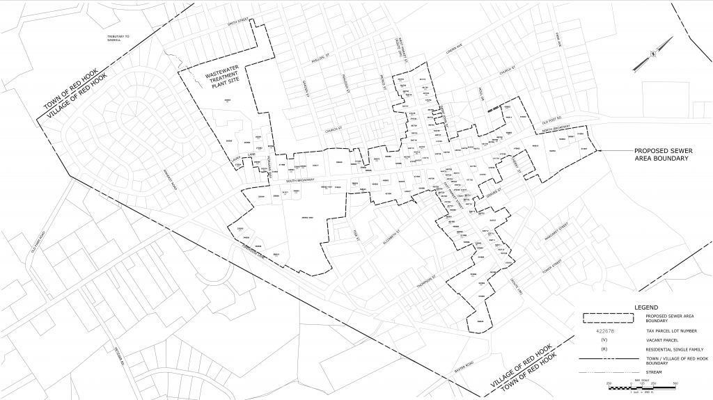 Map of proposed Village of Red Hook Sewer District covers most of the commercial and retail properties in the village