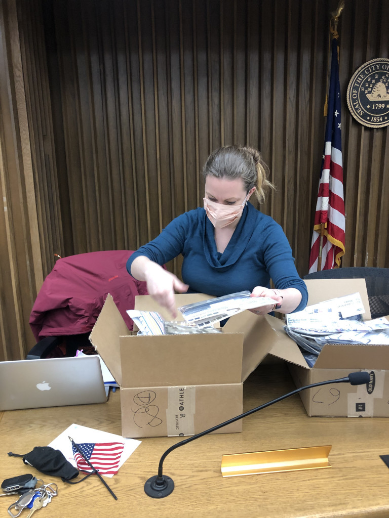 Councilmember Sarah Brannen (Ward 4) organizing the Mask Up PK care packages.